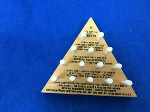 Vintage Original IQ Tester Wooden Triangle Brain Teaser Game Puzzle 1975