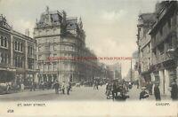Wales Cardiff St Mary Street Vintage Postcard 9.11