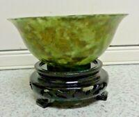 Spinach Jade Bowl - Chinese - Elegant  Green Jade Original Box Arts And Crafts