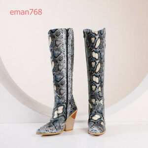 Women Big Size Western Knee High Boots Block High Heels Cowboy Winter Zip Shoes