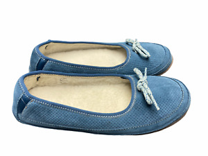 L.L. Bean 8 M Blue Leather Perforated Sherpa Lined Hearthside Moccasin Slippers