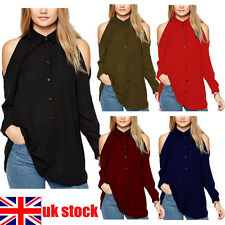 UK Womens Chiffon Cold Off Shoulder Loose Casual Long Sleeve Tops Blouse Shirt