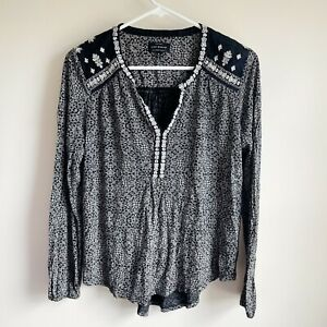 Lucky Brand Black White Embroidered Long Sleeve Blouse Size Medium