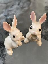 Vintage (Set of 2) Retired Hagen Renaker White Bunny Rabbits Usa
