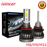 Pair H11 LED Headlight Bulbs Conversion Kit CREE 1200W 180000LM 6000K Hi/Lo Lamp