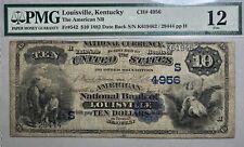 1882 $10 Louisville, Kentucky Large Size National PMG FINE 12 Fr# 542 Date Back