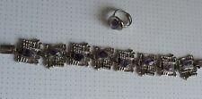 Vintage: Original 70er Jahre Armband.Silberfarben, lila Steine, passender Ring.