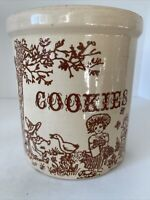 Vintage 1/2 Gallon Stoneware Pottery Crock With Children And Cookies In Brown