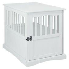 New ListingDog Crate Wood End Table Pet Comfort Kennel Indoor Pet Furniture Large White