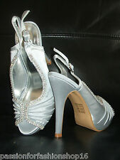SIZE 2 2.5 3 SILVER GREY SATIN DIAMANTE SLINGBACK OCCASION SHOES SANDALS & BAG