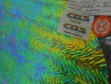 """Dichroic Glass:CBS 90COE Cyan/Red Aurora Borealis on Herringbone R Clear-  3"""" Sq"""