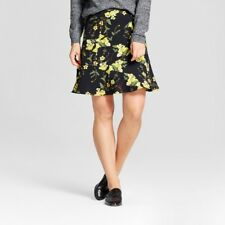 NEW Who What Wear Women's Paneled Ruffle Skirt Black Floral Size 10