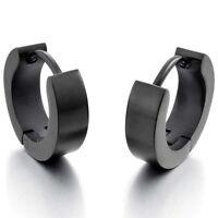 Stainless Steel Stallion Aro Hoop Huggie Earrings Black Polished Man D5Y6
