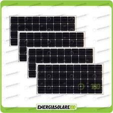 Set 4 Pannelli Solari Fotovoltaici 100W 12V Monocristallino Pmax 400W Baita Barc