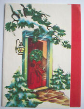 Red front door with wreath pines  CHRISTMAS VINTAGE GREETING CARD *C2