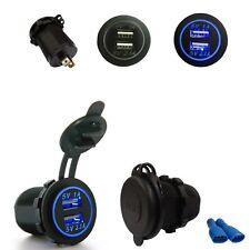 Blu LED Angel Eye Anello 12-24v Dual USB Auto Presa Di Ricarica Adattatore Di Alimentazione Presa