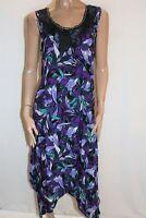 Millers Brand Purple Blue Tropics Print Hanky Hem Maxi Dress Size 14 BNWT #SZ101
