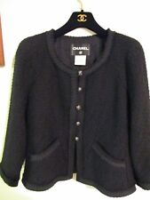 CHANEL Runway Little Black JACKET Blazer With Lion Head Buttons Size 40