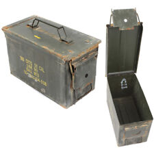 50 Cal Ammunition / Ammo Tin Genuine British Army, Metal Tool Storage Box - Used