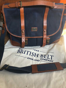 The British Belt Company Brand New Navy Canvas & Tan Leather & Satchel bag