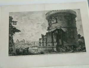 """Giovanni Battista Piranesi """"View of the Tomb of the Plautii"""" Plate XIII Etching"""