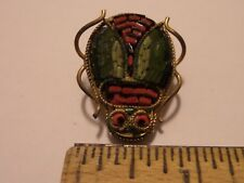 VINTAGE LOT BUG BROOCH PIN, ITALY FLORAL PIN BROOCH, FLOWER PENDANT NECKLACE