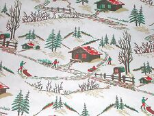 VTG CHRISTMAS DEPT STORE WRAPPING PAPER GIFT WRAP MCM 2 YARDS COUNTRY SLED SCENE