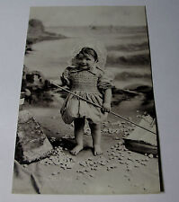 "K248 1905 HAPPY BABY ""Jolly Time"" TODDLER on BEACH POSTCARD Tucks Silverette RP"