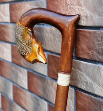 FOX Cane Walking Stick Wooden Handmade Wood Carving Exclusive Gift=)..
