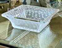 Lalique French Crystal Roses Large Square Bowl Mint in Box Signed & Gorgeous!