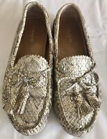 Coach Nadia Glitter Snake Driving Loafers Shoes Moccasins Women Gold 7B