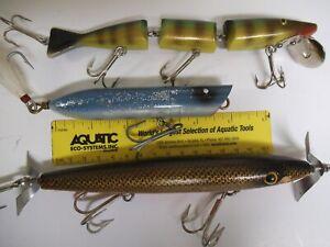 "Big Fish Lures, Creek Chub Striper Strike, 2 Others 7"", 1 Wood with Glass Eyes"