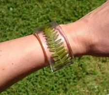 Bracelet Cuff Bangle Large Chunky Resin Clear Botanical Fern Leaves Leaf Fronds
