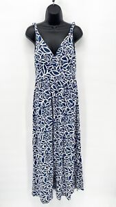 GARNET HILL Women's Blue Floral Print Twisted Strap Tank Stretch Maxi Dress Sz S