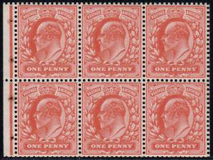 1904 KEVII De La Rue 1d Scarlet Booklet Pane U/M SG Spec MB5a
