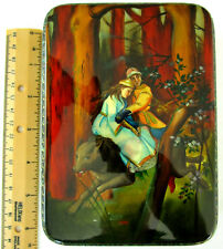 Russian Fedoskino Lacquer Box, Tsarevitch Ivan Riding Gray Wolf, Mother of Pearl