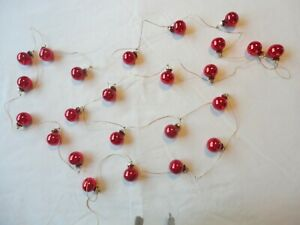 Vintage Christmas Garland Glass Ornaments 9 ft. 24 Small Red Ornaments