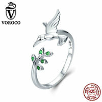VOROCO 925 Silver Hummingbirds Adjustable Rings Unique Ring Jewelry For Girls