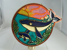 """Stained Glass Style """"Whale With Baby Whale"""" Night Light"""