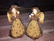 Antique Rose & Fur Vintage ANGELS HOLDING Dove Song BIRD Art Deco Statues SET