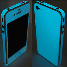 * Green BLUE *  Glow in the Dark for iPhone 4 Full Body Skin Shield