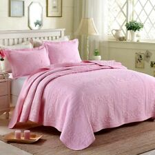 Pink Quilted Bedspreads Set Warm Coverlet Queen King Size Bedding Pillow Cases