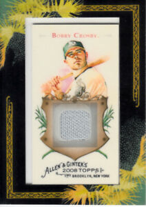 Bobby Crosby Oakland A's 2008 Topps Allen & Ginter game worn jersey patch card