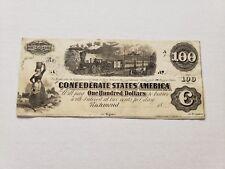ORIGINAL 1862 CONFEDERATE STATES $100 TRAIN bill - T. Sanford Depositary