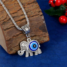925 Silver Turkish Evil Eye Glass Necklace Elephant Pendant Sweater Chain
