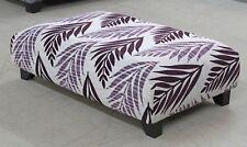 (7) Ashley Manor Tyler Purple Leaf Design Fabric Footstool Pouffe