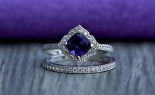 1.56 Ct Cushion Cut Women's Engagement Wedding Ring With Band 14K White Gold