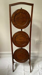 Antique English Pie Cake Muffin Plant Stand 3Tier Table Gorgeous Oak/collapsible