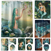 4PCS Bathroom Shower Curtain Bath Art Decor Mat Accessories Blue Mermaid Printed