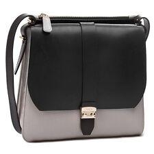 $498 Authentic Furla Flair Grey Black leather Colorblock Messenger Bag Purse